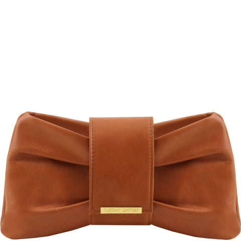 Tuscany Leather TL Bag ' Priscilla ' Clutch Leather Handbag Handbag Tuscany Leather Cognac