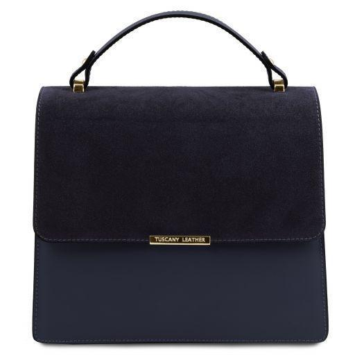 Tuscany Leather 'Irene' Leather Handbag With Chain Strap Ladies Shoulder Bag Tuscany Leather Dark Blue