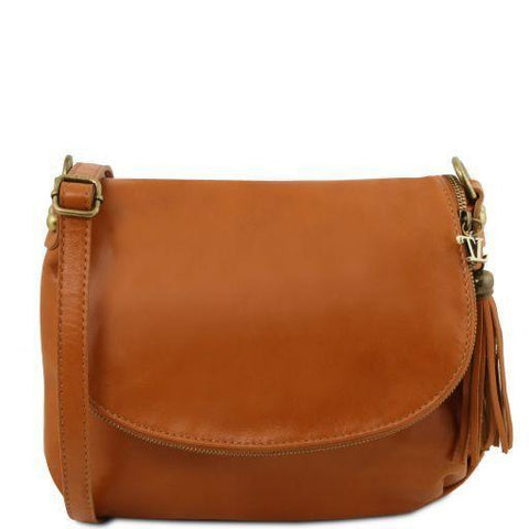 Tuscany Leather TL BAG Soft leather shoulder bag with tassel detail