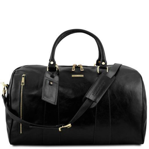 Tuscany Leather 'TL Voyager' Travel Leather Duffle Bag - Large (TL141794) Duffle Bag Tuscany Leather Black