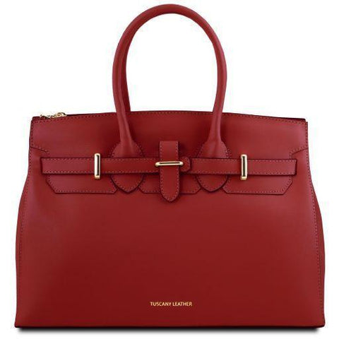 Tuscany Leather 'Elettra' Leather Handbag Ladies Shoulder Bag Tuscany Leather Red
