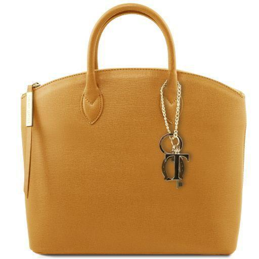 Tuscany Leather 'Keyluck' Saffiano Leather Shoulder Tote Bag Ladies Shoulder Bag Tuscany Leather Mustard