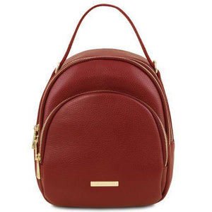 Tuscany Leather 'TL Bag' Leather Backpack For Women (TL141743) Backpack Tuscany Leather Red