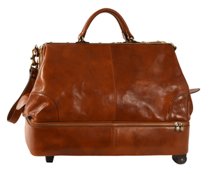 Original Tuscany 'Vespucci' Wheeled Double-Bottom Gladstone Leather Bag- Special Offer