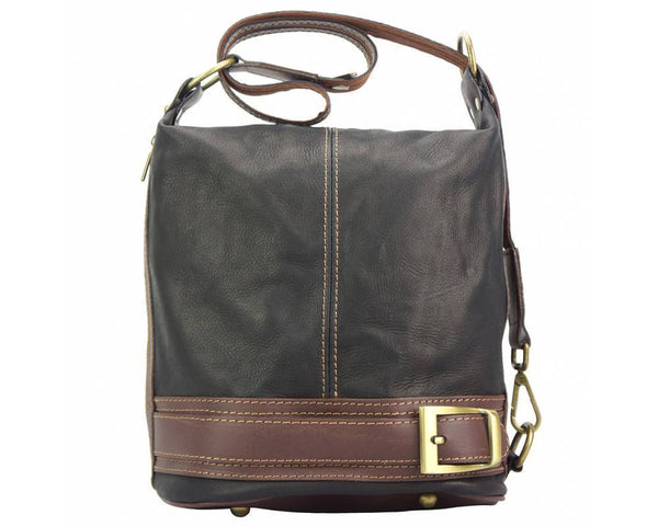 Made In Tuscany 'Caterina' Leather Backpack Backpack Made in Tuscany Black/Brown
