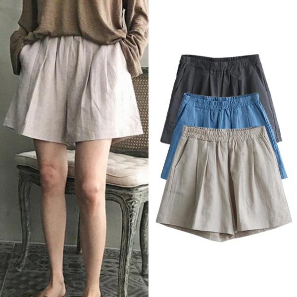 Casual Linen Wide Leg Loose Shorts