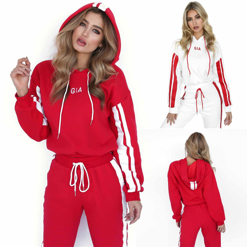 Colorblock Striped Hooded Casual Sport Suit