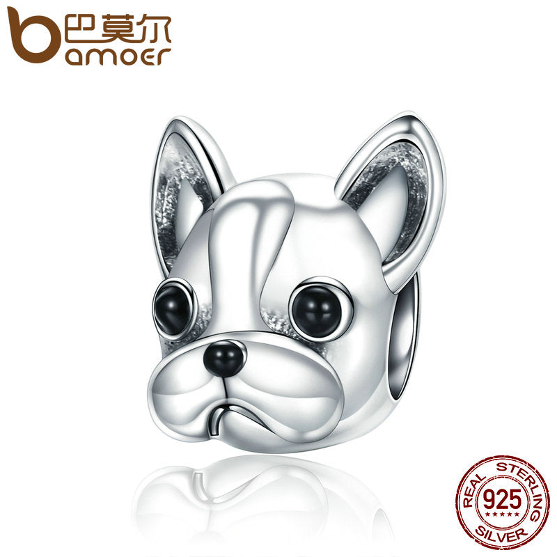 925 Sterling Silver French BULLDOG Animal Bead for Bracelets or necklace
