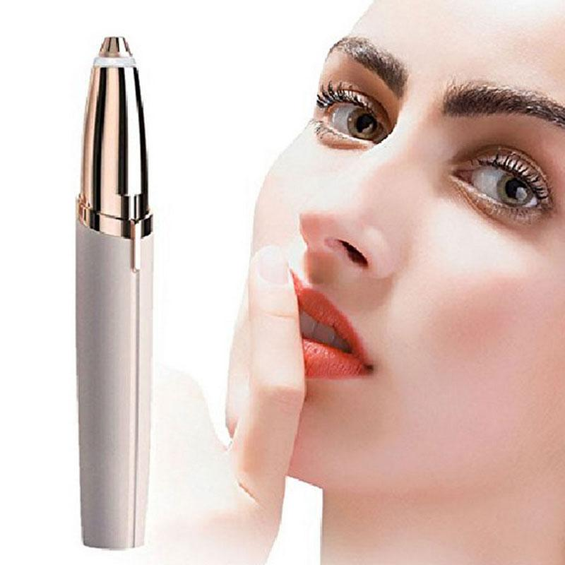 Lipstick Eyebrow Trimmer Brows Pen Hair Remover Mini Electric Shaver Painless  Eye brow Epilator S-Brows with LED Light Hot Sale