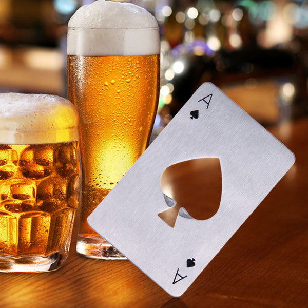 Portable Stainless Steel Poker Playing Card Ace of Spades Bar Tool Soda Beer Bottle Cap Opener Gift For Wallet Bar Tools Kitchen