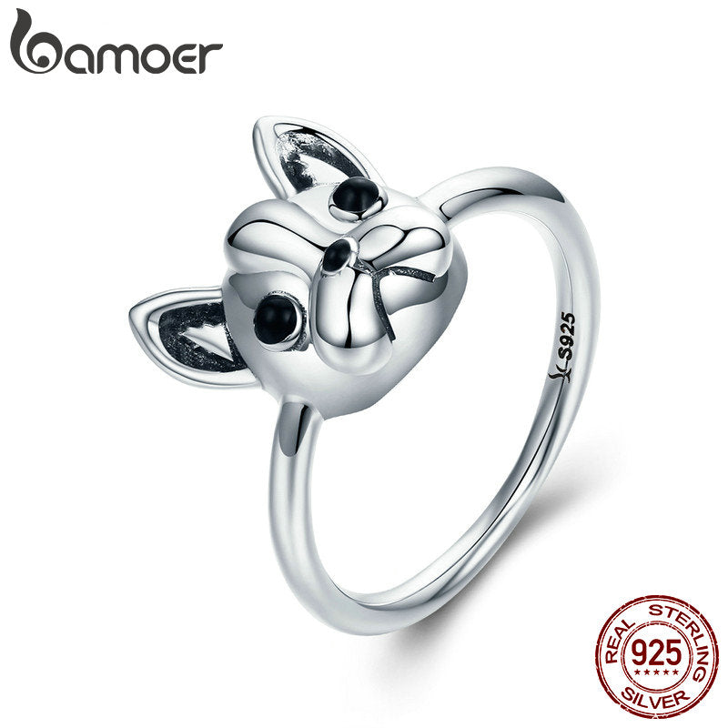 Hot Sale 100% 925 Sterling Silver French Bulldog Dog  Ring