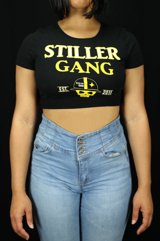 Black Stiller Gang Crop Top T-Shirt Women's