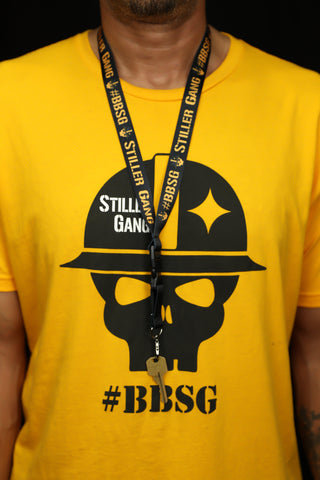 man wearing Stiller Gang black lanyard