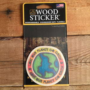 Love Our Planet Go Green Wood Sticker