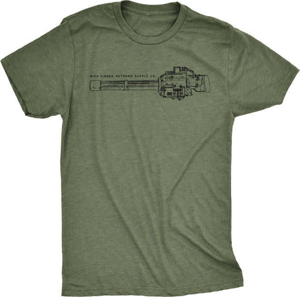 Olive Green Minigun T-shirt For Door Gunners and Special Forces. Featuring Gau-17 M134 Schematic Blueprint Design.