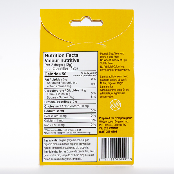 Organic Manuka Honey Drops - Lemon