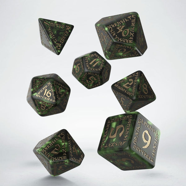 Runic Bottle-Green & Gold Dice Set - RPG Poly Dice
