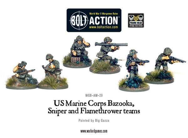 US Army Marine Corps Bazooka, Sniper & Flame Thrower Teams