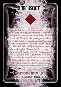 Discipline and Blood Magic Card Deck - Vampire The Masquerade 2