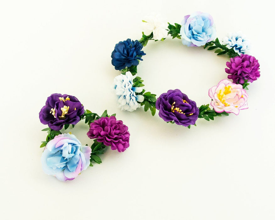 Huckleberry | Flower Crown And Bracelet Set Blue