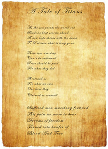 Song Lyrics on Papyrus Paper
