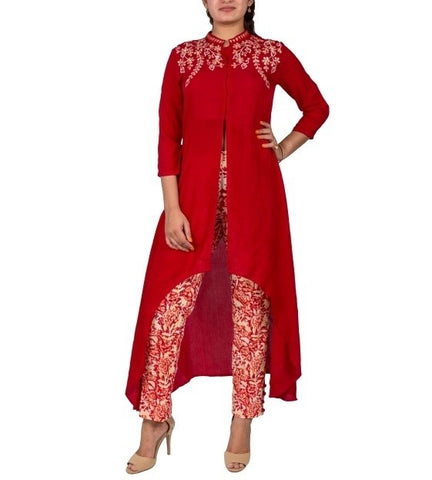 Rust High Low Hand Block Print Kurta with Front Slit