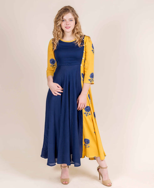 Blue and Yellow Rayon Floral Anarkali Indo Western Gown