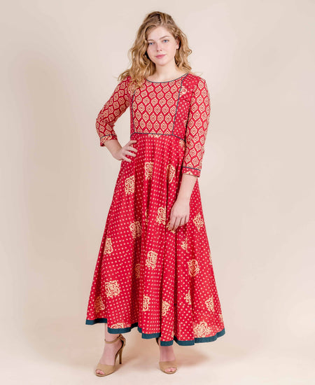 Red and Ivory Layered Floral Indo Western Dress
