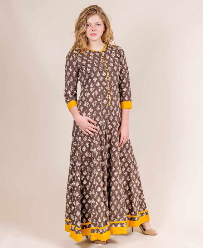 Brown and Yellow Cotton Long Indo Western Dress