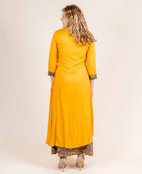 Yellow and Brown Rayon Layered Floor Length Dress