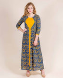 Jacket Style Cotton And Rayon Ethnic Long Dress