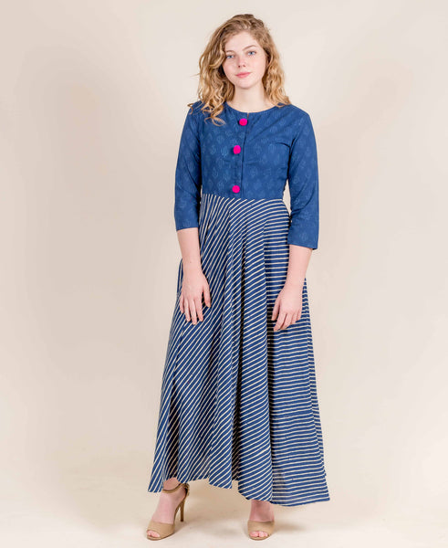 Indigo Blue Cotton Indo Western Gown