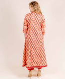 Peach And Pink A Line Hand Block Printed Jaipuri Kurti