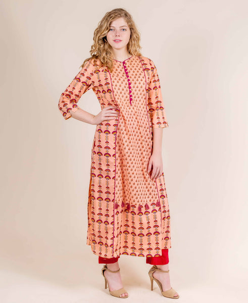 Straight Cut Peach Hand Block Printed Jaipuri Kurti