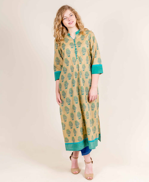 Beige With Turquoise Straight Cut Long Jaipuri Kurti