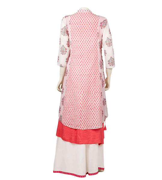 Hand block printed peach and white Layered suit set