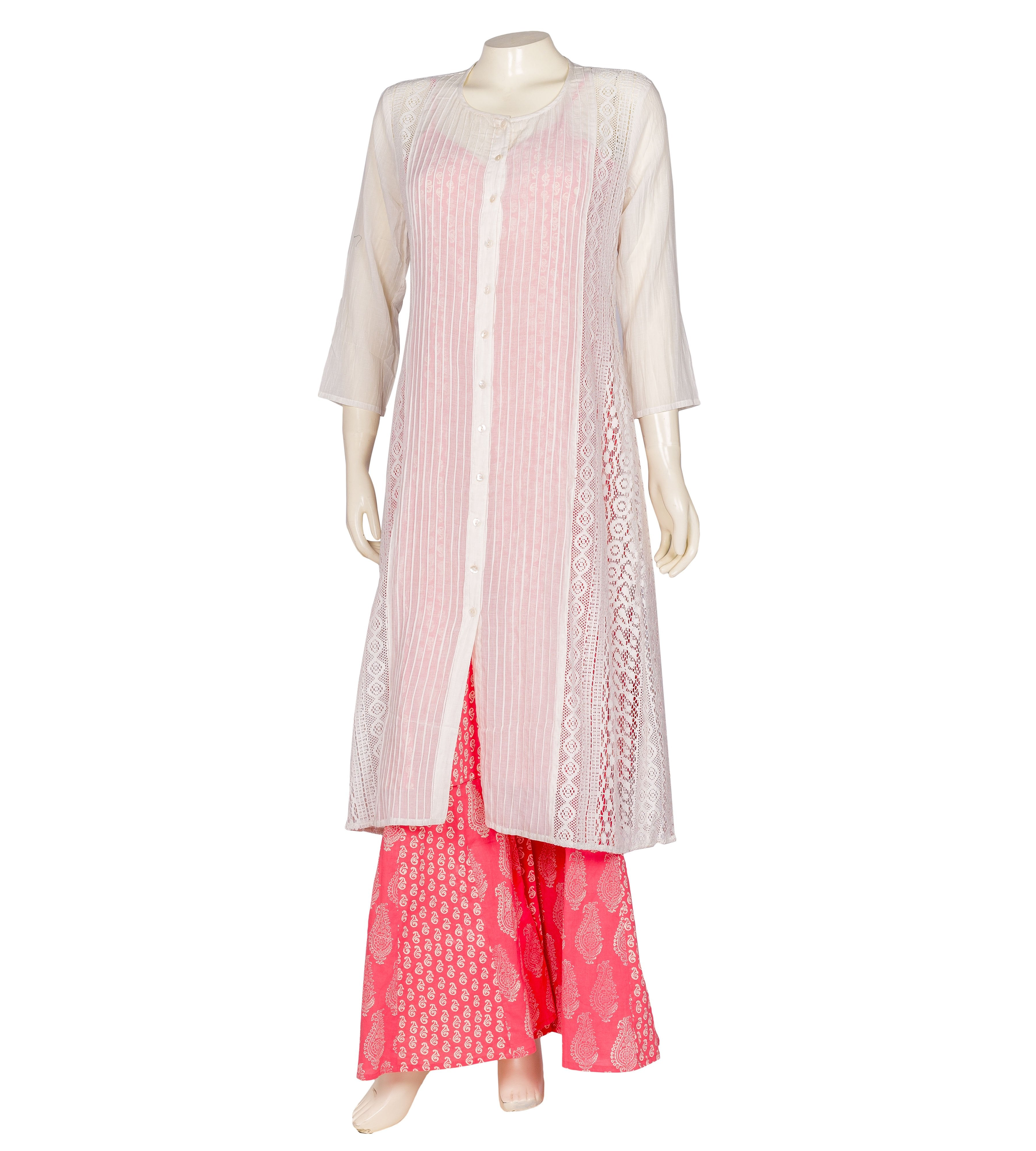 White and pink hand block printed Jacket style suit set