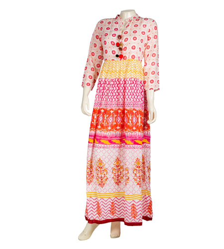 Embroidered Jacket style kurta in red and beige