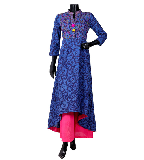 Embroidered and Tasseled hand block printed High low suit set