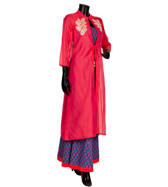 Embroidered tasseled Jacket style suit set in blue and red