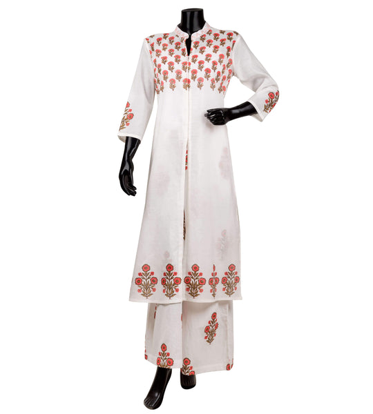 A-line suit set in white with peach hand block prints