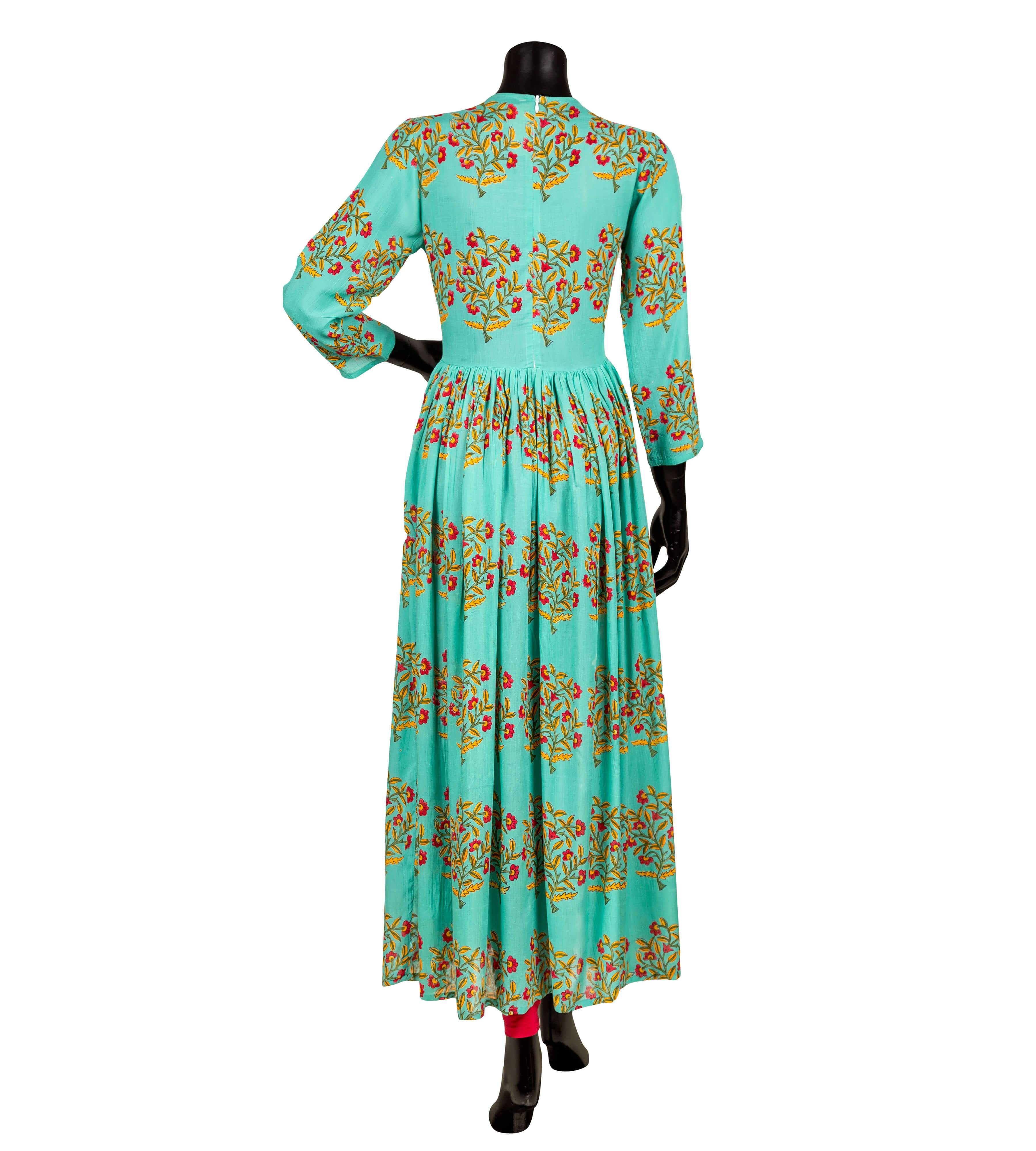 Sea green and red center slit cotton kurta