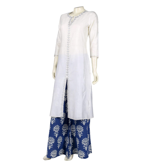 Embroidered white and blue straight center slit suit set