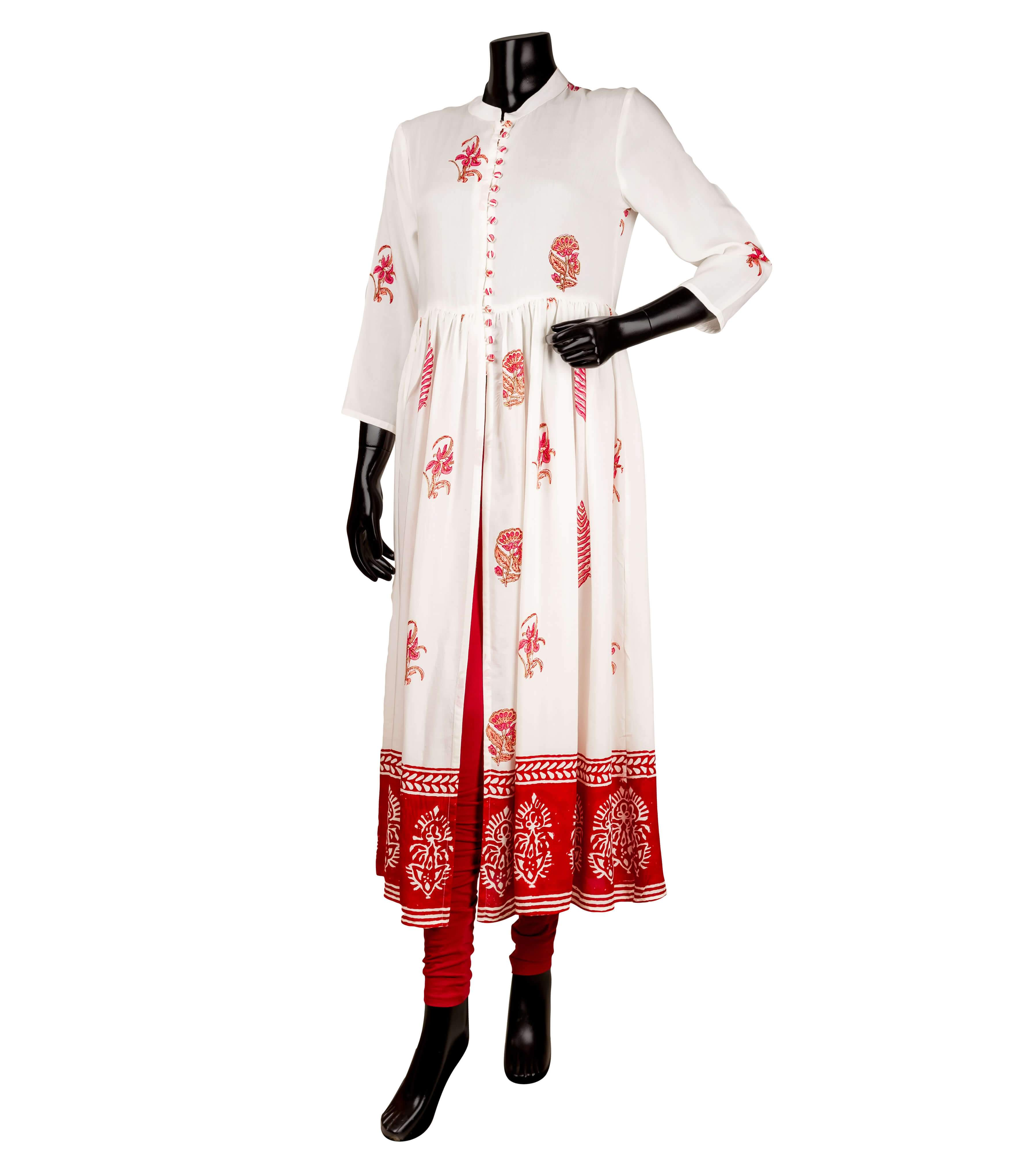 White and red Cotton Anarkali style kurta with center slit