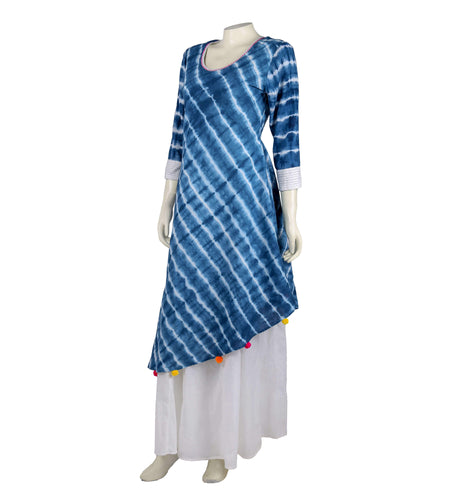 Hand block print rayon Wrapper dress