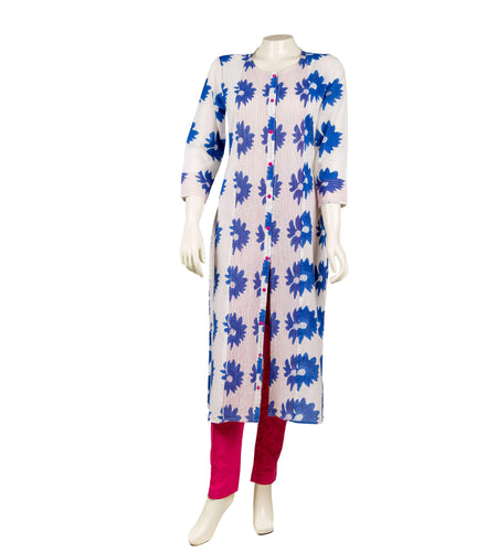 Cotton Jacket style suit set in white and blue