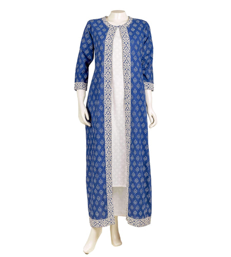 Tasseled jacket suit set in indigo blue and white