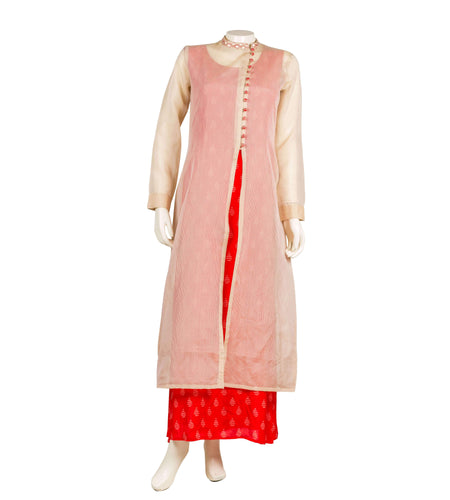 Embroidered layered tasseled kurta in yellow and pink