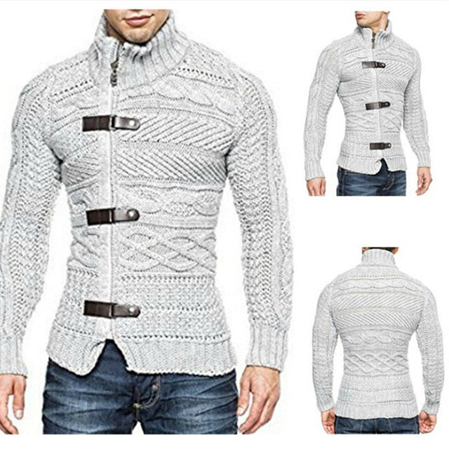 New Fashion Men Sweater Coat Thick Wool Triple Breasted Striped
