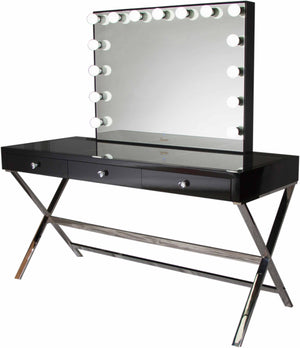 Glamster Vanity Makeup Table - Black - Glamour Makeup Mirrors